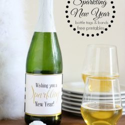 Sparkling New Year Bottle Tags and Bands Free Printables
