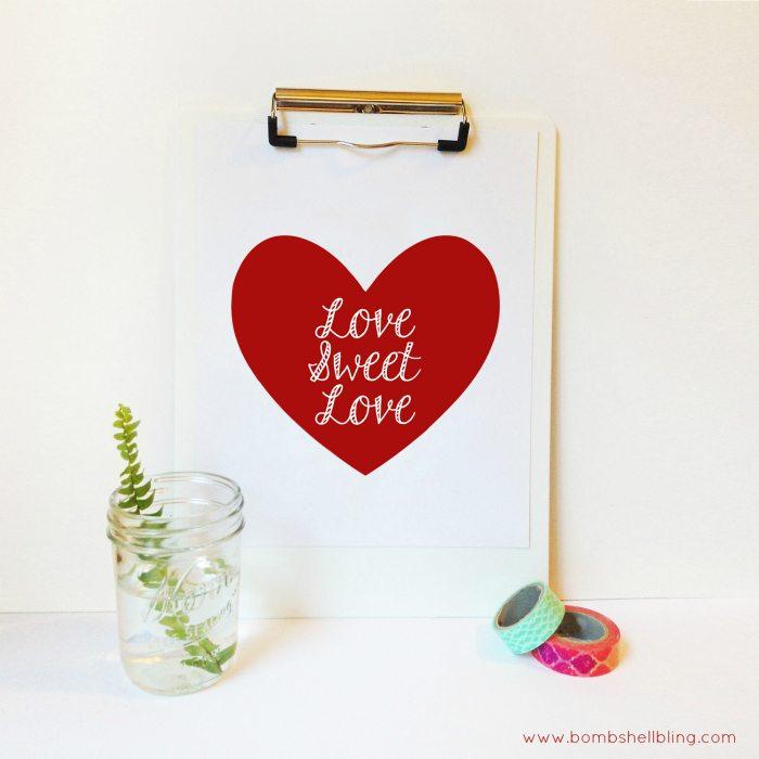 Love Sweet Love Printable in Red