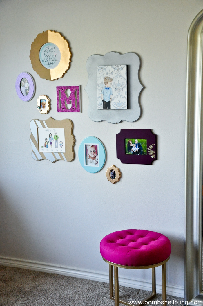 I love this gallery wall! Girly and glam!
