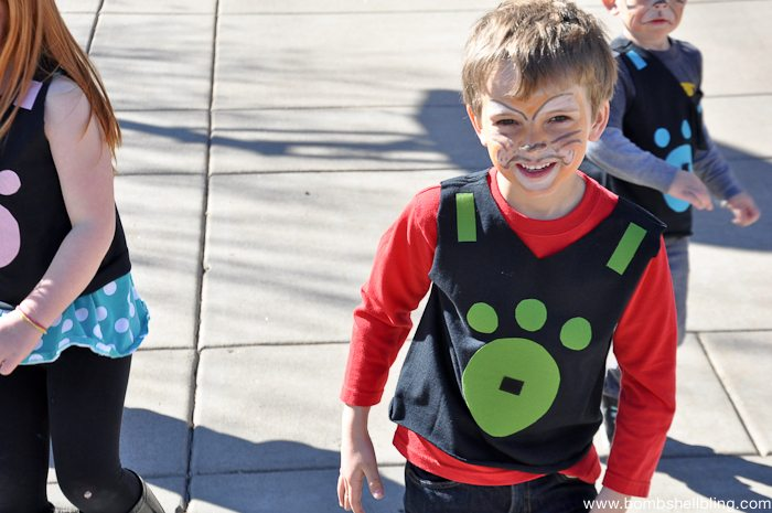 Close up of boy in driveway at Wild Kratts Birthday Party