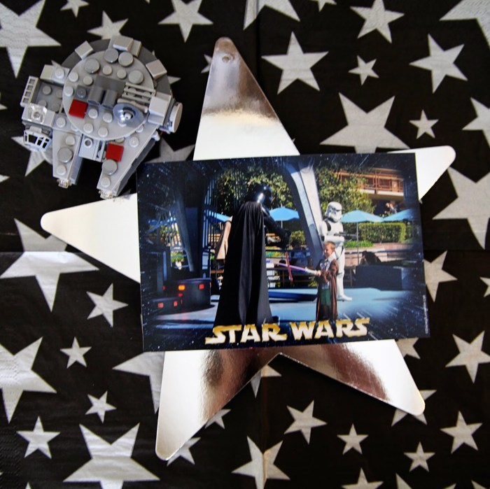Star Wars Lego table centerpiece photo on silver star