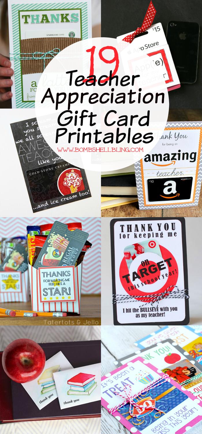 19 Teacher Appreciation Gift Card Printables