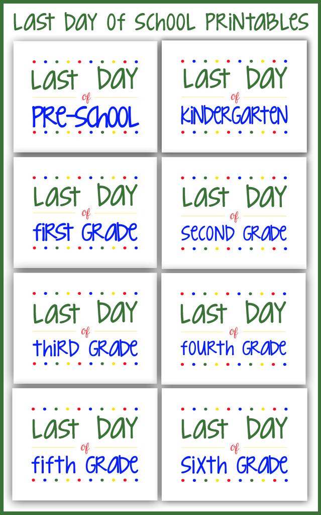 Last Day of School Printables on Bombshell Bling