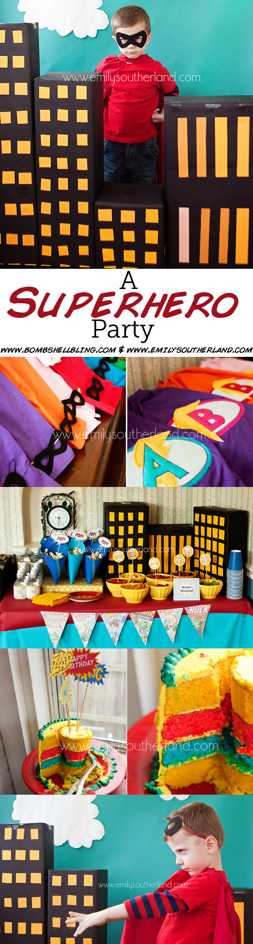 SuperHero Birthday Party Long Pin Collage