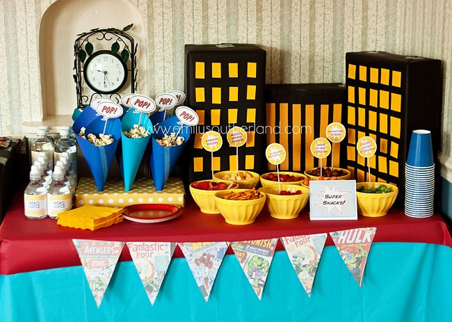 superhero birthday party snack table