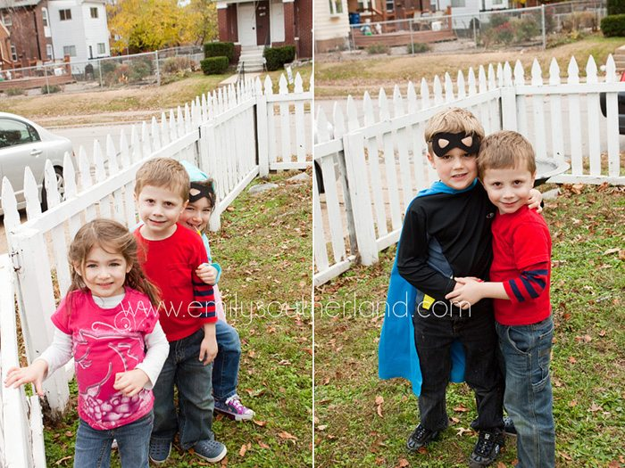 Collage of kids playing outside at superhero birthday party