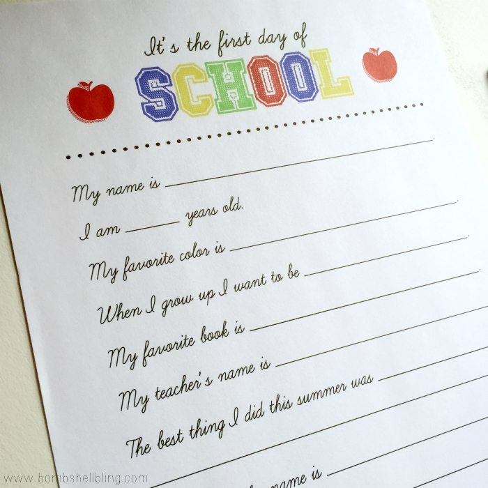 I love this printable first day of school interview idea!