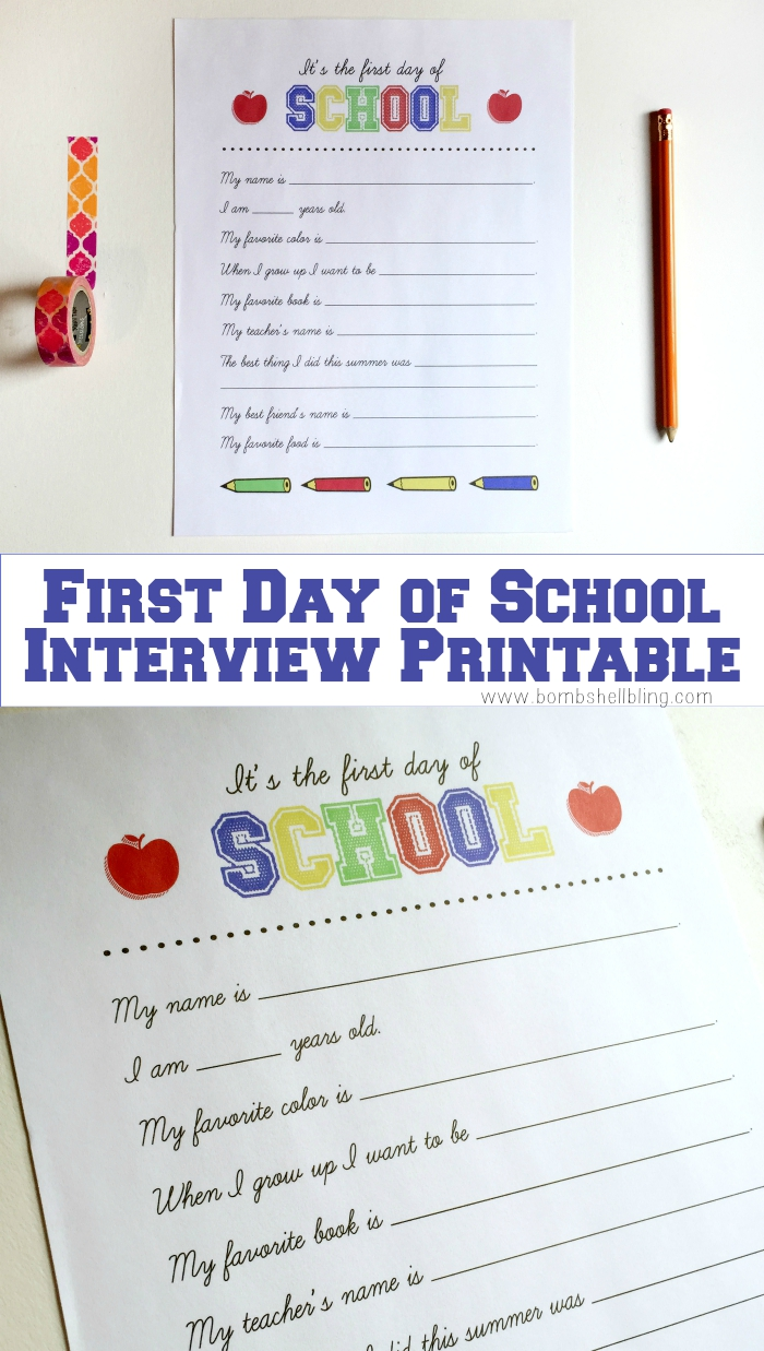 It's a First Day of School Interview Printable