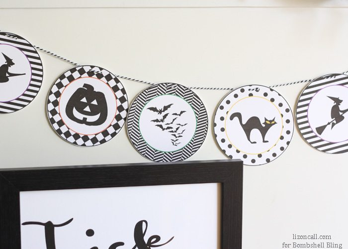 Halloween printable banner hanging on wall