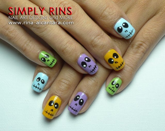 Nail Art Colorful Skulls 03
