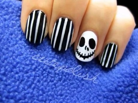 20 frightfull fab halloween nail art tutorials halloween nail art jack skellington prinsesfo Images