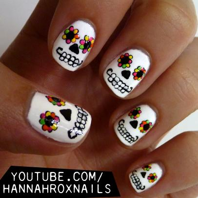 20 frightfull fab halloween nail art tutorials day of the dead nail tutorial from hannah rox nails prinsesfo Images