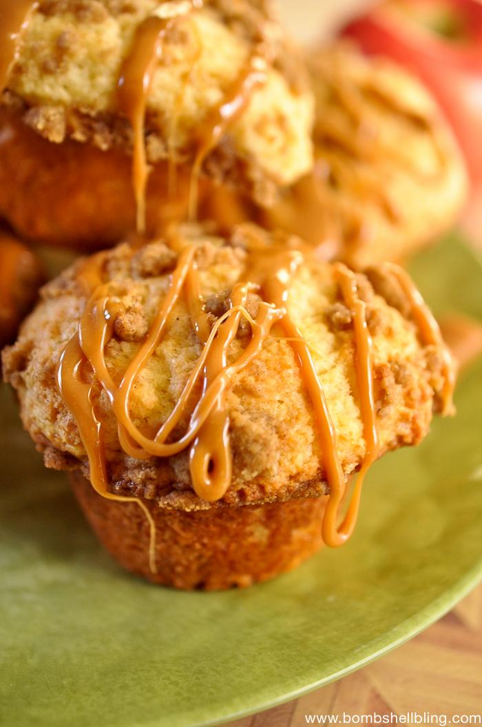 Struesel Topped Caramel Apple Muffins -5