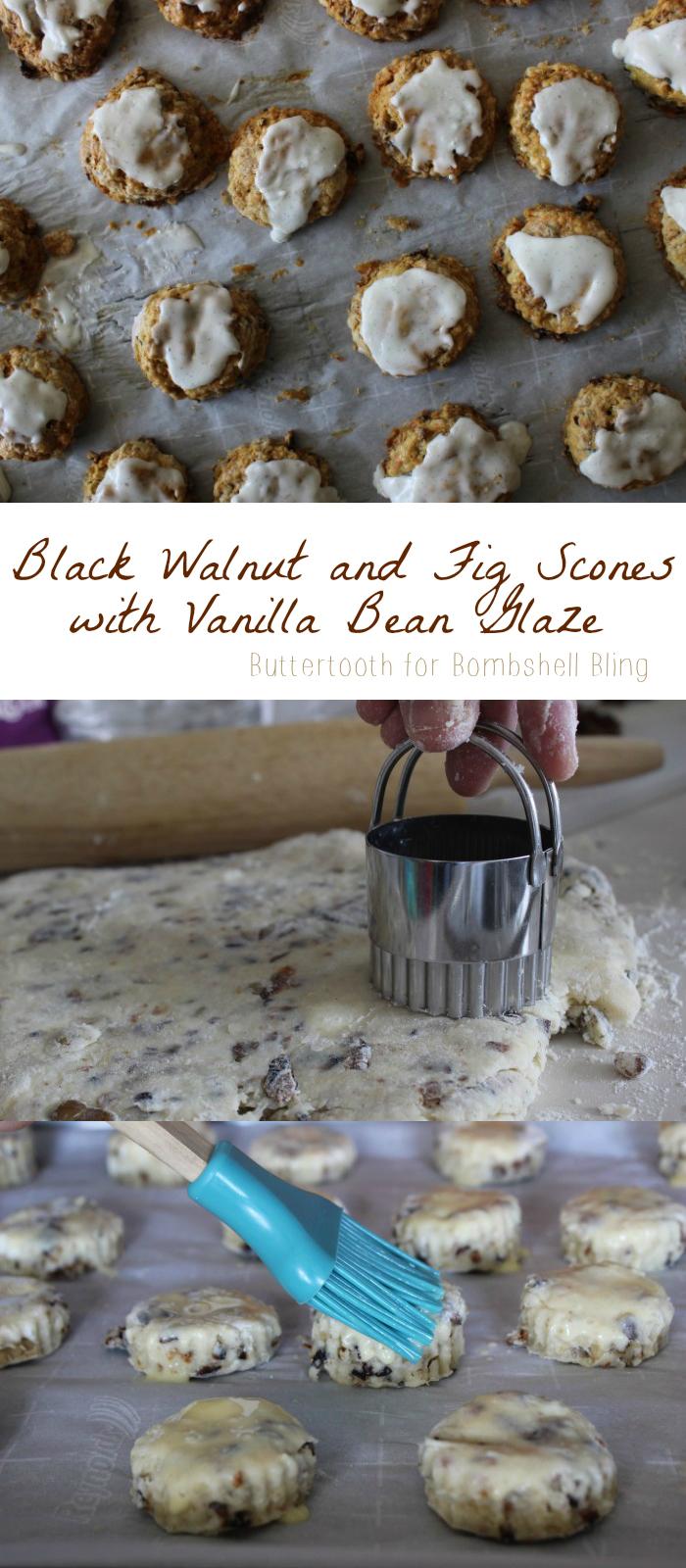 Black Walnut and Fig Scones with Vanilla Bean Glaze