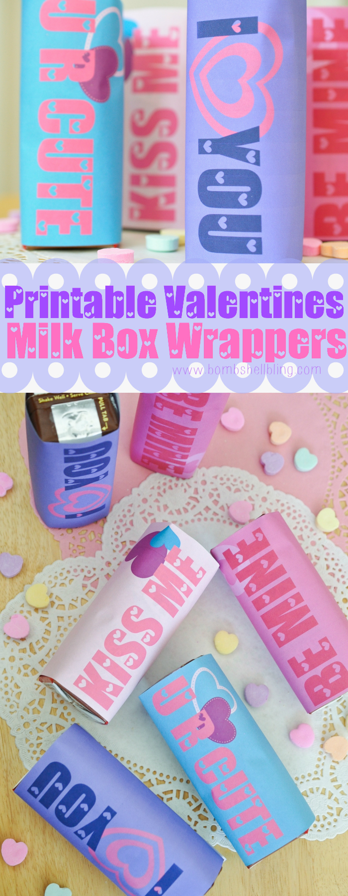 These Valentine's Day printable milk box wrappers are perfect to make drinks for a class party or lunchbox extra cute this February! FREE to download now.