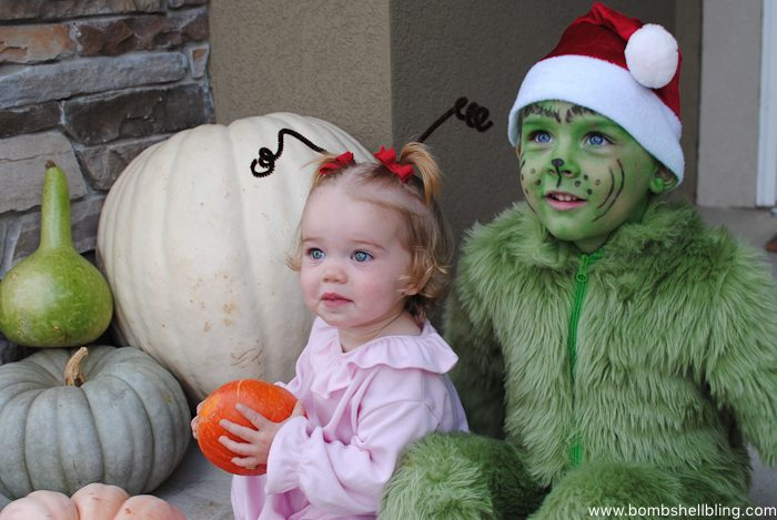 Cindy Lou Who and the Grinch, Sibling Halloween Costume--Bombshell Bling