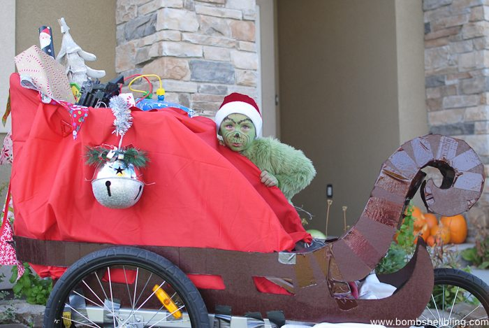 Grinch Costume and Sled--Bombshell Bling