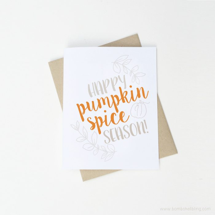 Free Fall Printables pumpkin spice season card