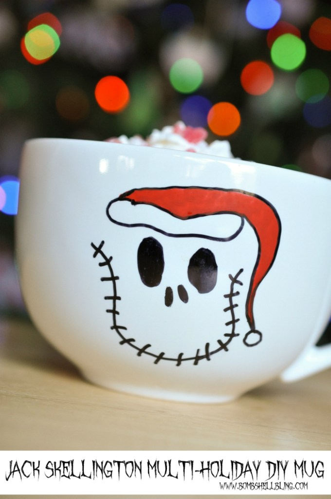 This DIY Jack Skellington Multi-Holiday Mug is THE CUTEST and looks SOO easy to make! I LOVE IT! #jackskellington #nightmarebeforechristmas #Halloween #Christmas
