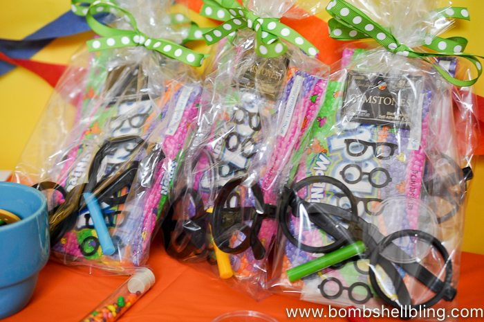 Nerdy thirty party favor bags