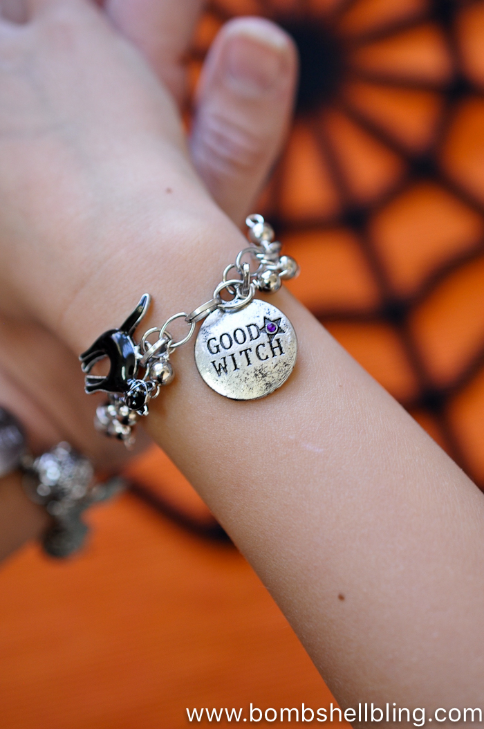This witchy Halloween charm bracelet is the perfect accessory for any Halloween lover!  Wear it all October long to add a festive touch to any outfit!