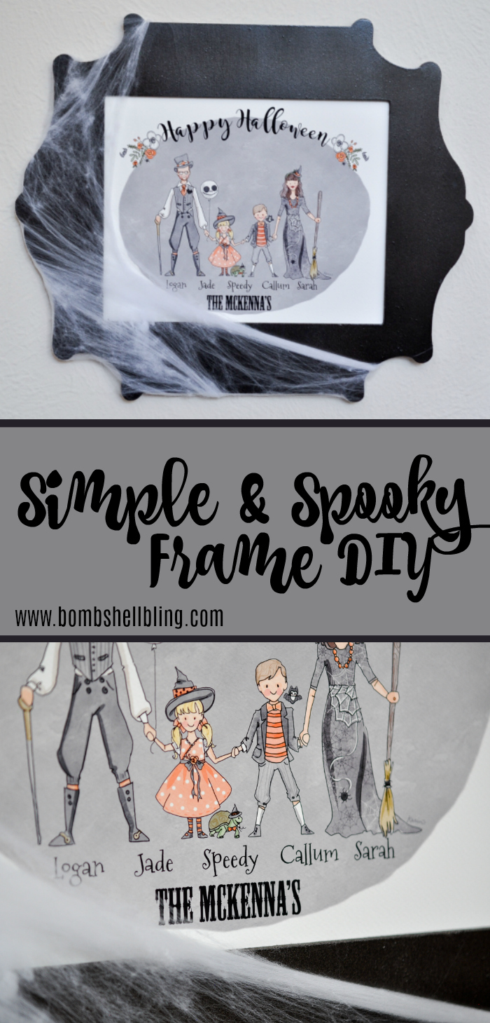 This simple spooky frame DIY is perfect for your Halloween decor. Spray paint and cobwebs can transform the frame in less than an hour!