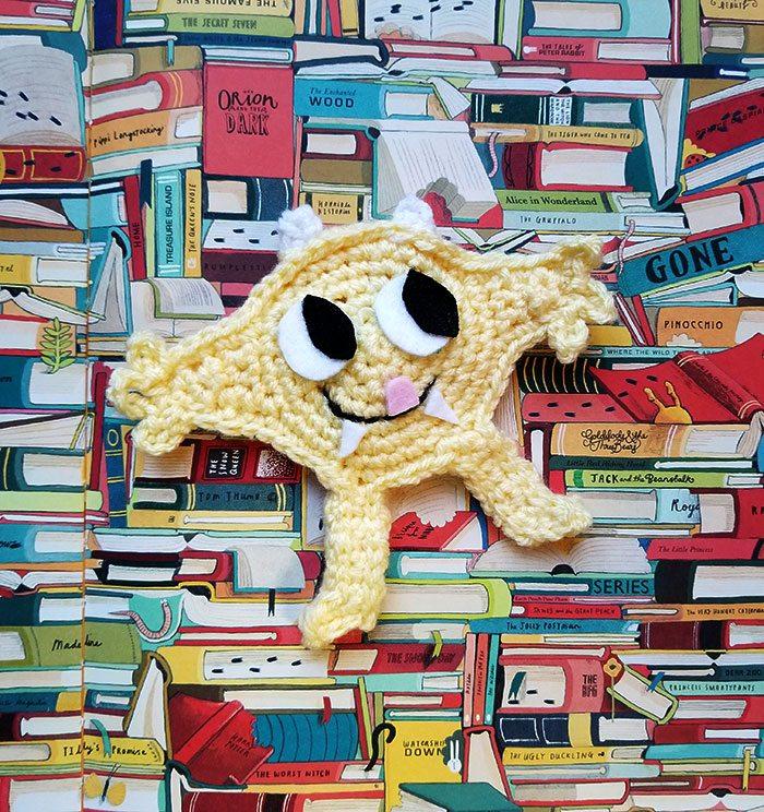 Nibbles the Book Monster Crochet Bookmark