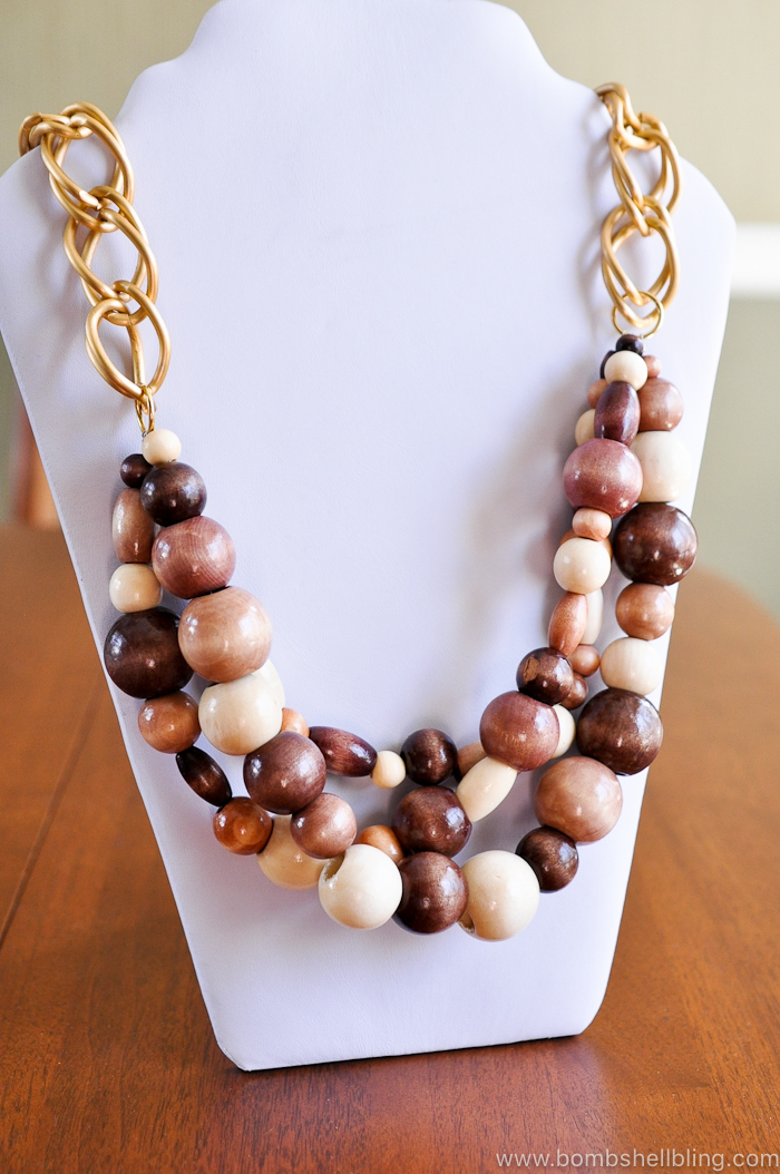 wooden statement necklace by bombshell bling