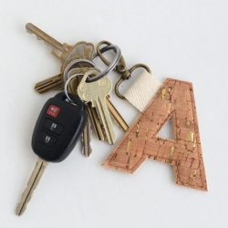 Cork Fabric Monogram Key Fob