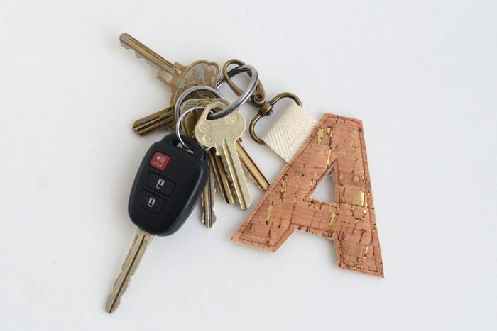 Cork Fabric Monogram Key Fob