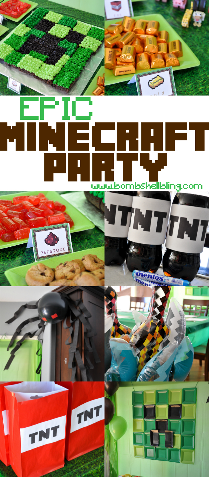 "This epic Minecraft birthday party is full of ideas for a party for any Minecraft fan! Activities from BINGO to ""battling"" are shared, plus decor and food ideas galore!"