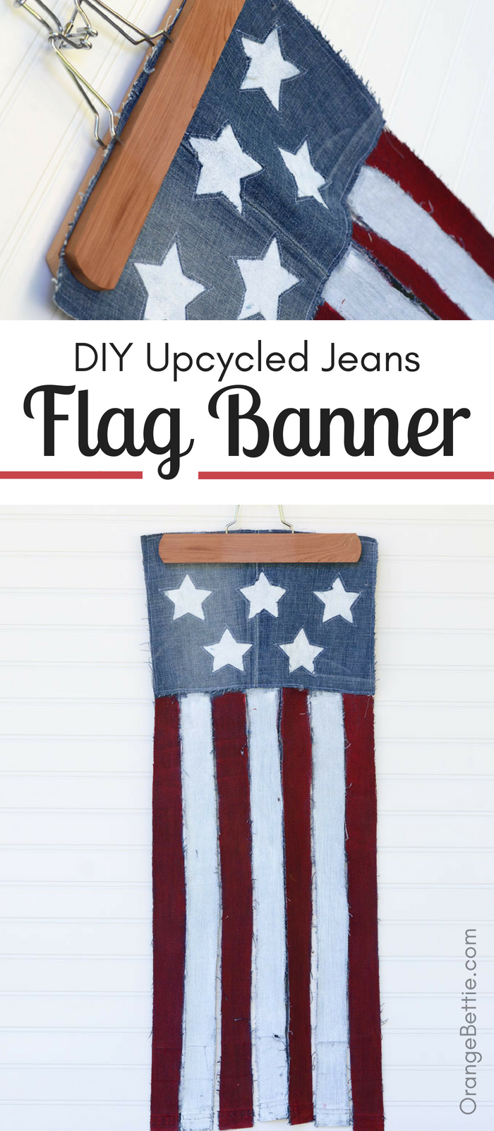Turn an old pair of jeans into a cute patriotic flag banner for 4th of July or any other patriotic holiday!  I don't know if there's any fabric that's more perfect for a patriotic design than denim, particularly upcycled denim that's a little distressed here and there.