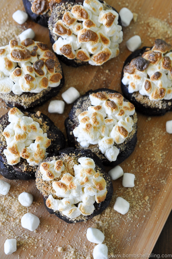These rich, decadent dark chocolate s'mores cookies are sure to delight kids and adults alike! They are sinfully indulgent but playful all at once.