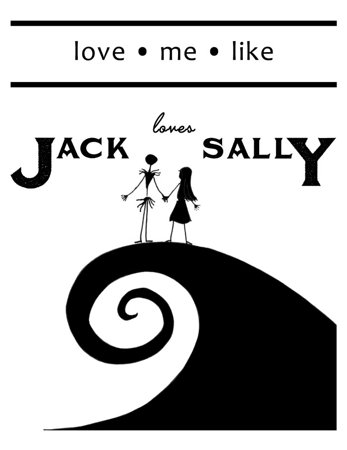 This sweet Jack and Sally printable features the epic couple from The Nightmare Before Christmas. It is free to download in three different sizes.