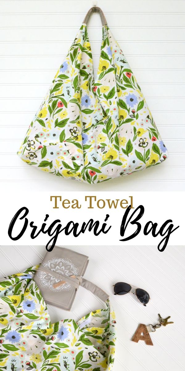 This tea towl origami bag sewing tutorial is simple and can be customized to any holiday, season, or event!  Perfect for a quick project!