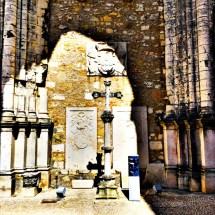 Monastery outside cross