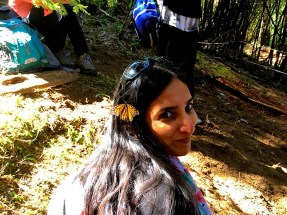 Nandita with Buttefly in her hair