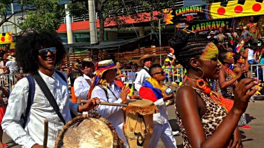 Barranquilla Cumbia musicians and dancers
