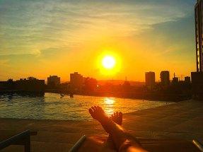 Hilton infinity pool at sunset