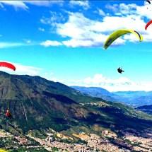 Paragliders over Medellin
