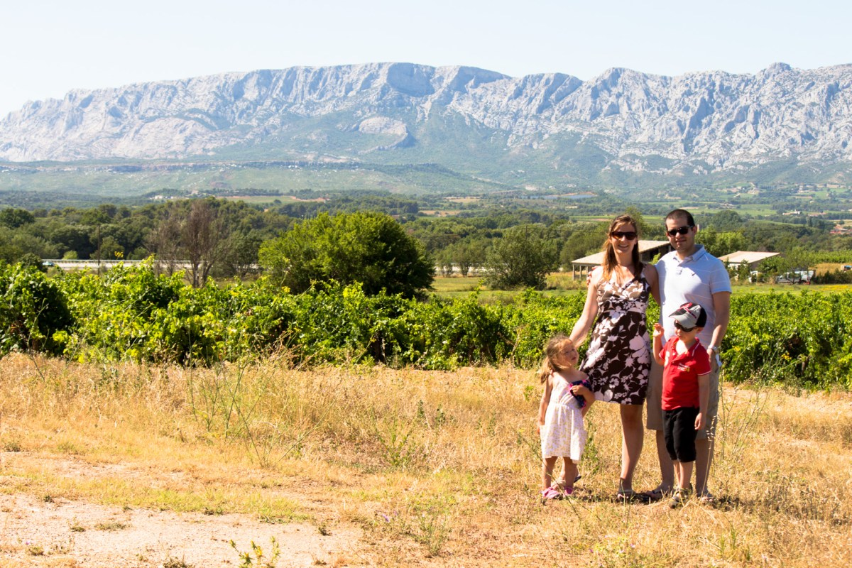 Family picture in front of the St Victoire in Provence, France.