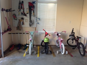 Garage organization with bikes