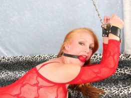 Awesome Blond Wife is restrained with Leather and Chains