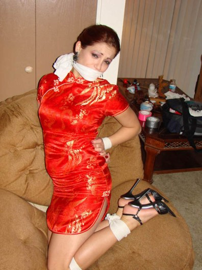 Beautiful Girlfriend gagged and bound in sexy Dress