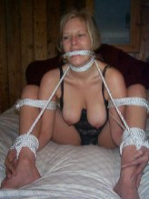 Blond Amateur Wife is tightly tied with white Rope