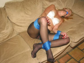 Blond Amateur Wife tightly tied and gagged in Pantyhose