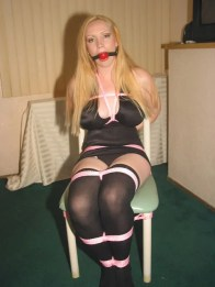 Blond Housewife enjoys being Ball gagged and tied up