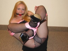 Blond Wife tied up in black Stockings and high Heels