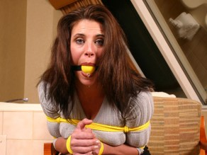 Brunette Wife tightly bound and gagged at Home