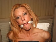 Busty Blond Wife tightly tied up and gagged in white Lingerie